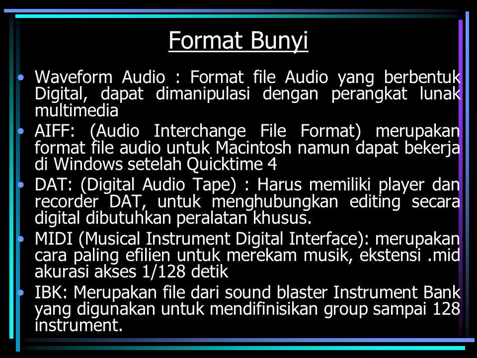 Format Bunyi Waveform Audio : Format file Audio yang berbentuk Digital, dapat dimanipulasi dengan perangkat lunak multimedia AIFF: (Audio Interchange