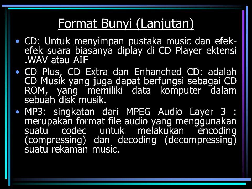 Format Bunyi (Lanjutan) CD: Untuk menyimpan pustaka music dan efek- efek suara biasanya diplay di CD Player ektensi.WAV atau AIF CD Plus, CD Extra dan