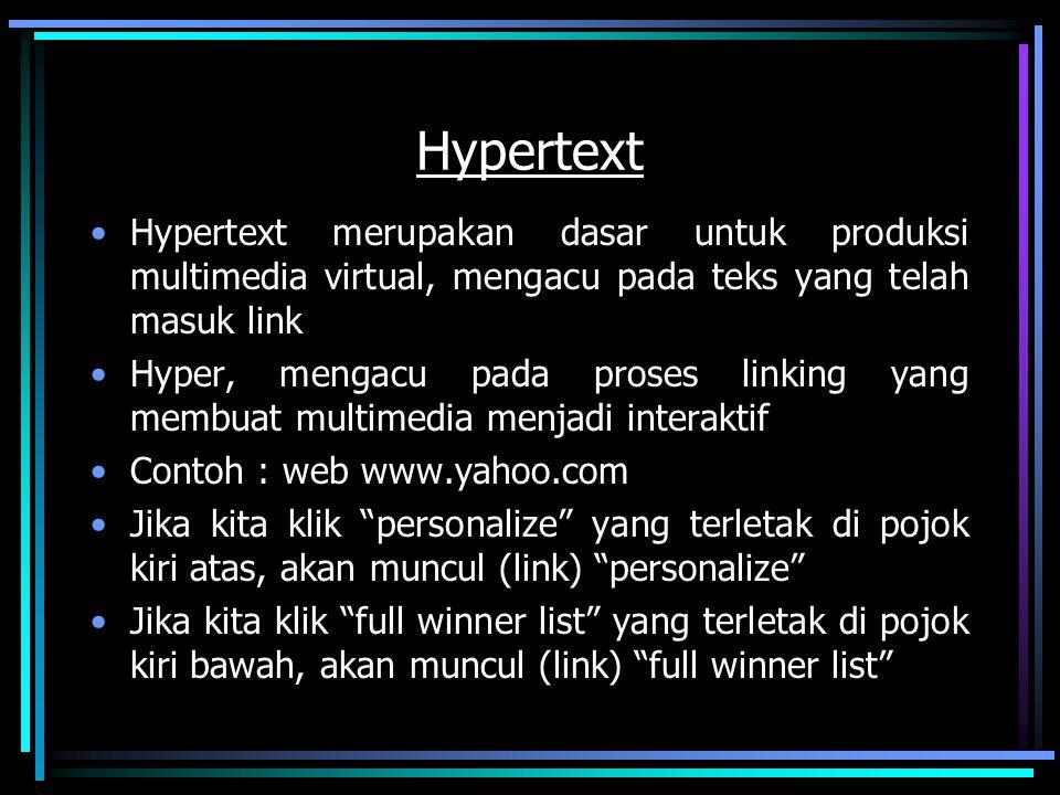 Hypertext Hypertext merupakan dasar untuk produksi multimedia virtual, mengacu pada teks yang telah masuk link Hyper, mengacu pada proses linking yang