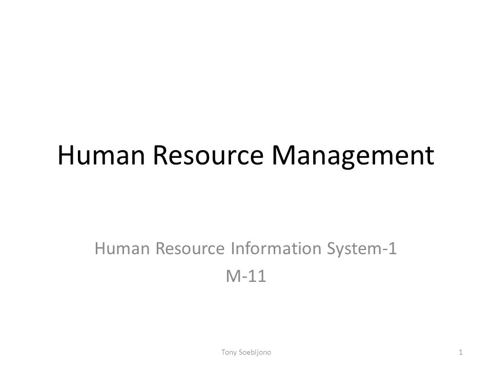 Human Resource Management Human Resource Information System-1 M-11 1Tony Soebijono