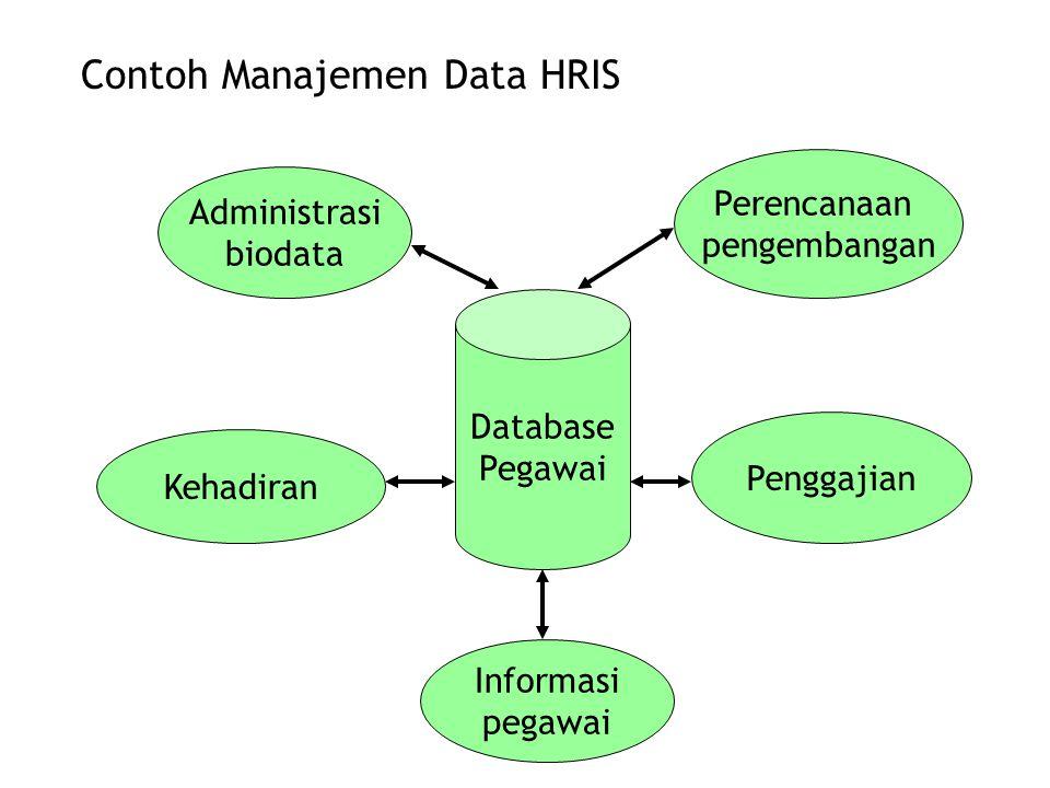 Database Pegawai Administrasi biodata Perencanaan pengembangan Penggajian Informasi pegawai Kehadiran Contoh Manajemen Data HRIS