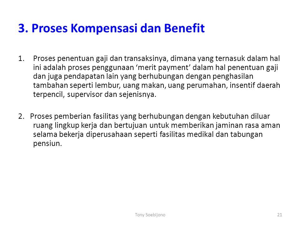 3. Proses Kompensasi dan Benefit 1.Proses penentuan gaji dan transaksinya, dimana yang ternasuk dalam hal ini adalah proses penggunaan 'merit payment'