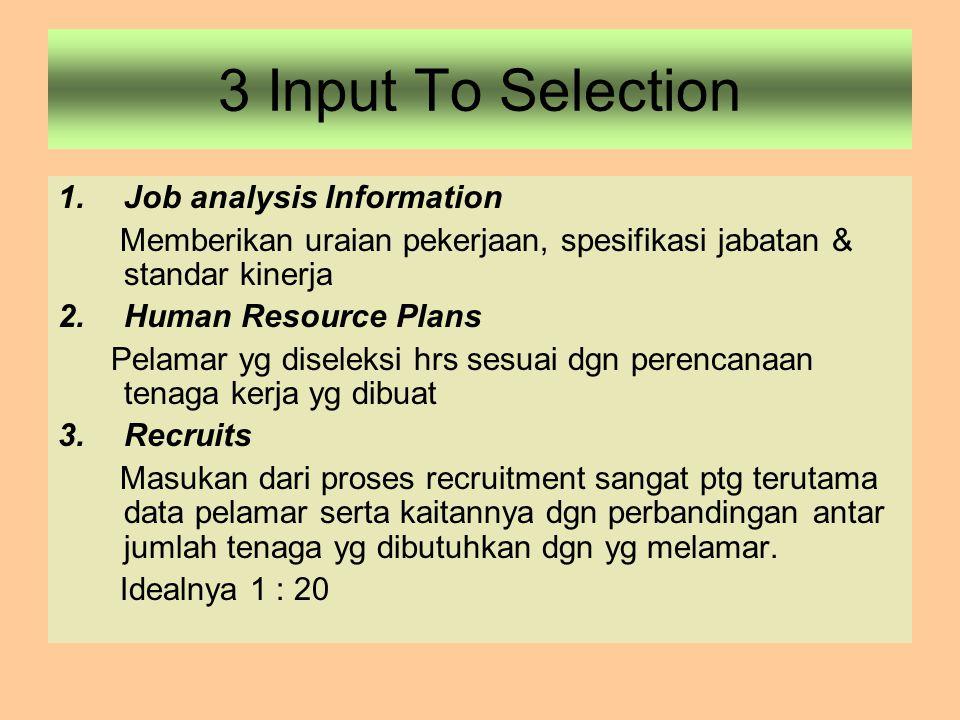 3 Input To Selection 1.Job analysis Information Memberikan uraian pekerjaan, spesifikasi jabatan & standar kinerja 2.Human Resource Plans Pelamar yg d