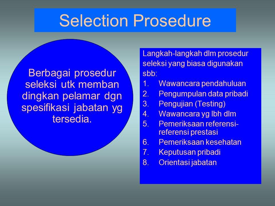 Selection Prosedure Berbagai prosedur seleksi utk memban dingkan pelamar dgn spesifikasi jabatan yg tersedia. Langkah-langkah dlm prosedur seleksi yan