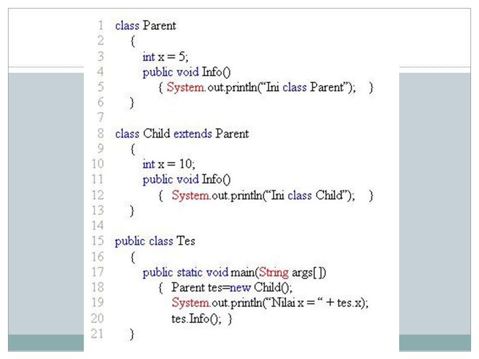 Hasil dari running program diatas adalah sebagai berikut: Nilai x = 5 Ini class Child Pada konsep ini, method yang akan dipanggil pada saat runtime akan ditentukan berdasarkan tipe aktual obyeknya.