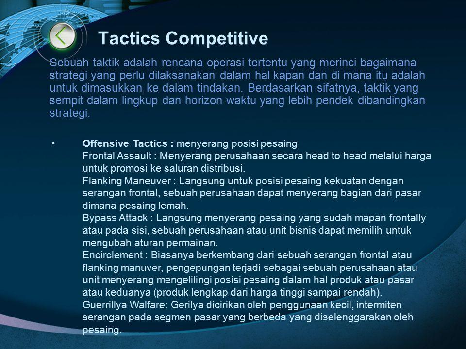 Tactics Competitive Sebuah taktik adalah rencana operasi tertentu yang merinci bagaimana strategi yang perlu dilaksanakan dalam hal kapan dan di mana