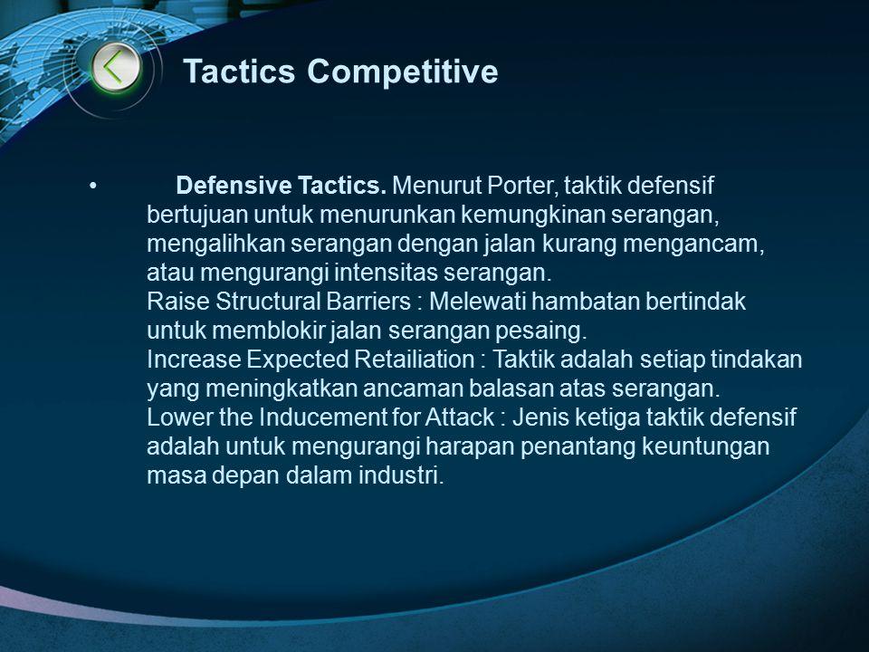 Tactics Competitive Defensive Tactics. Menurut Porter, taktik defensif bertujuan untuk menurunkan kemungkinan serangan, mengalihkan serangan dengan ja