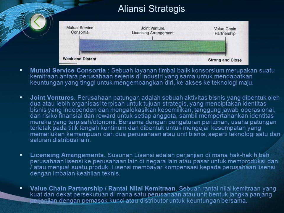 Aliansi Strategis  Mutual Service Consortia : Sebuah layanan timbal balik konsorsium merupakan suatu kemitraan antara perusahaan sejenis di industri