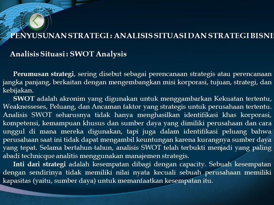 PENYUSUNAN STRATEGI : ANALISIS SITUASI DAN STRATEGI BISNIS Analisis Situasi : SWOT Analysis Perumusan strategi, sering disebut sebagai perencanaan str