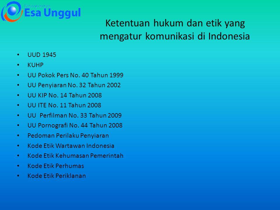 Ketentuan hukum dan etik yang mengatur komunikasi di Indonesia UUD 1945 KUHP UU Pokok Pers No. 40 Tahun 1999 UU Penyiaran No. 32 Tahun 2002 UU KIP No.