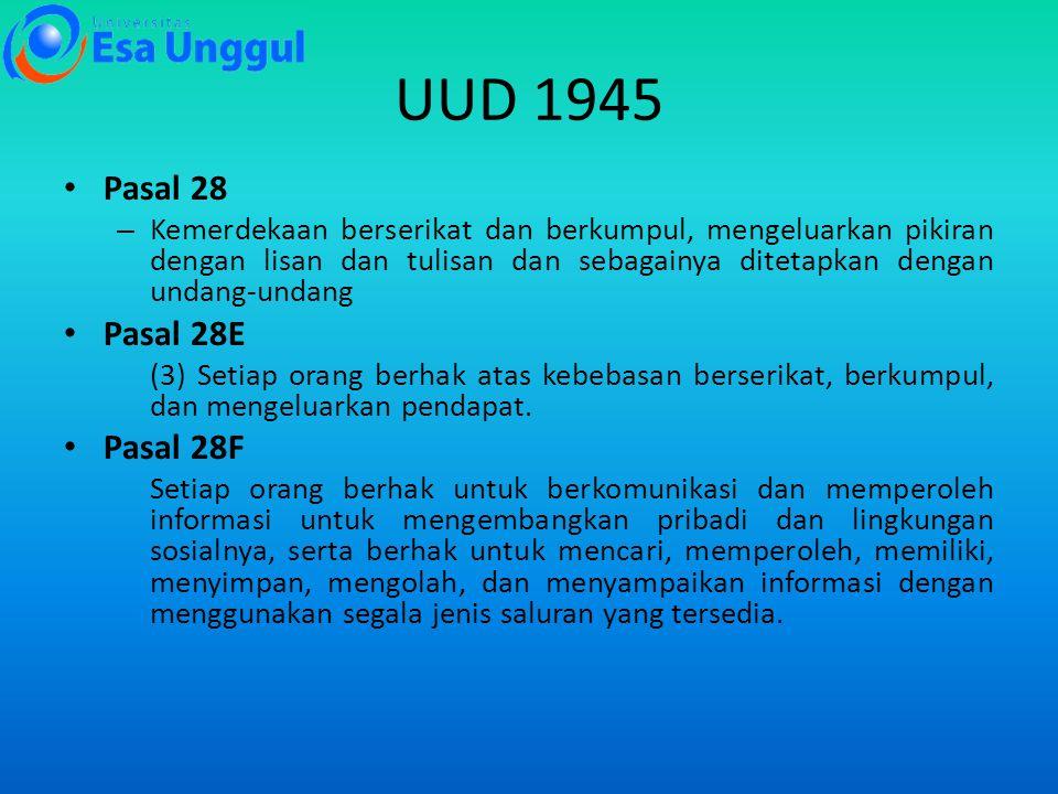 UUD 1945 Pasal 28 – Kemerdekaan berserikat dan berkumpul, mengeluarkan pikiran dengan lisan dan tulisan dan sebagainya ditetapkan dengan undang-undang Pasal 28E (3) Setiap orang berhak atas kebebasan berserikat, berkumpul, dan mengeluarkan pendapat.