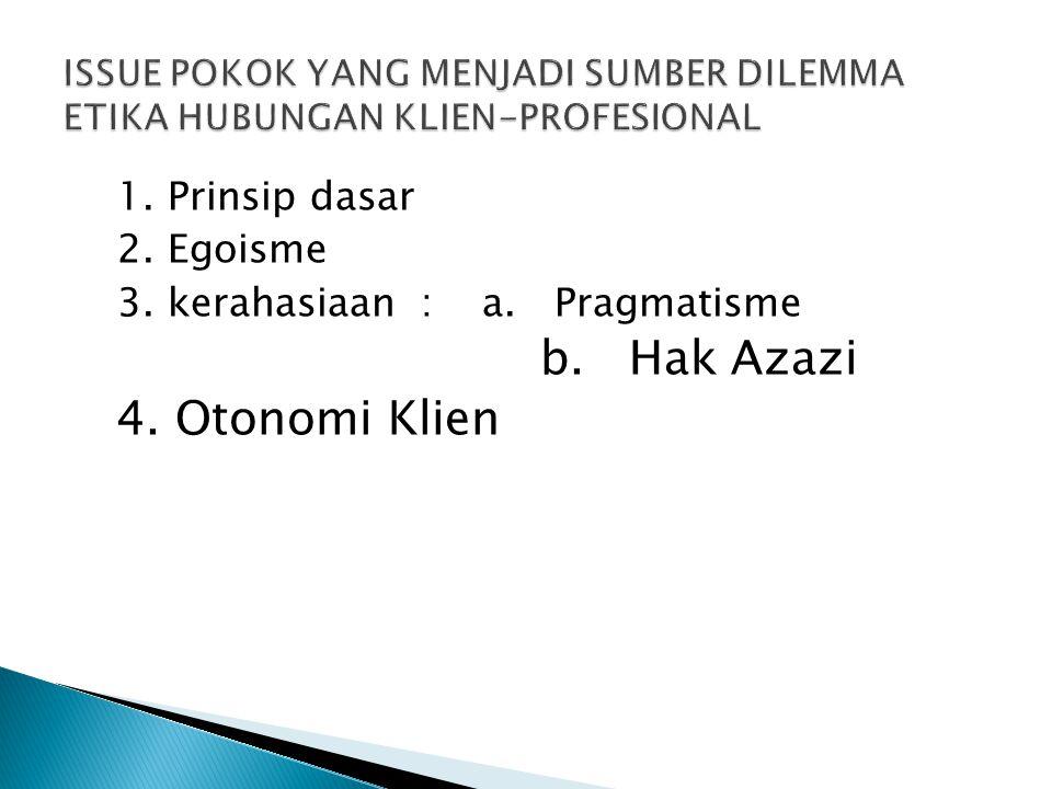 1. Prinsip dasar 2. Egoisme 3. kerahasiaan : a. Pragmatisme b. Hak Azazi 4. Otonomi Klien