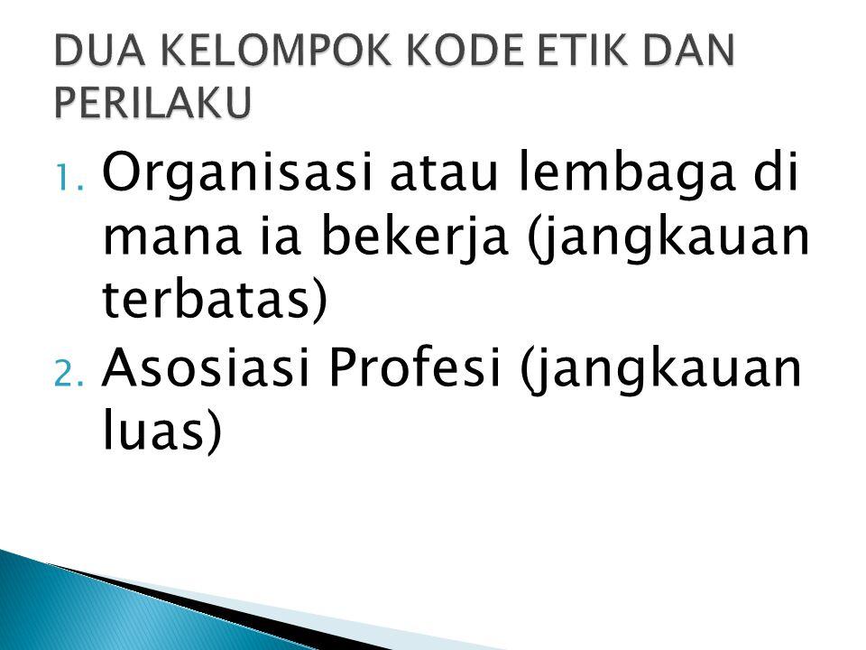 1.Organisasi atau lembaga di mana ia bekerja (jangkauan terbatas) 2.