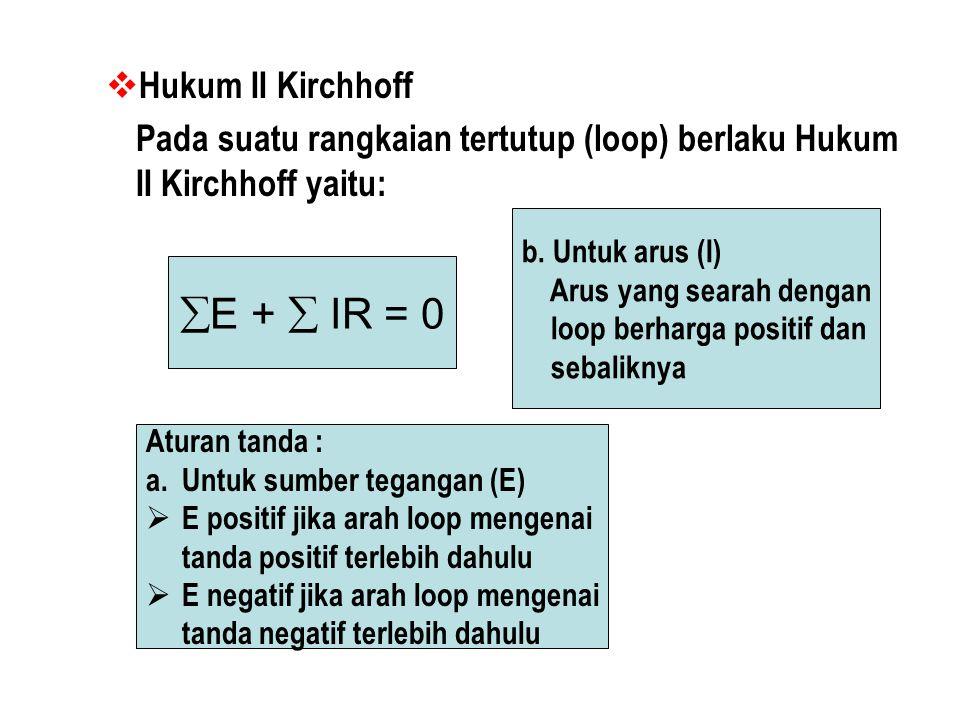  Hukum II Kirchhoff Pada suatu rangkaian tertutup (loop) berlaku Hukum II Kirchhoff yaitu:  E +  IR = 0 Aturan tanda : a.Untuk sumber tegangan (E) EE positif jika arah loop mengenai tanda positif terlebih dahulu EE negatif jika arah loop mengenai tanda negatif terlebih dahulu b.