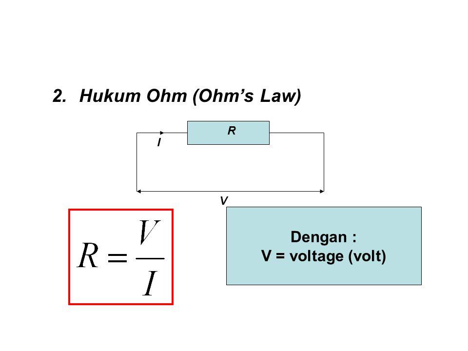 Grafik tegangan-arus pada rangkaian hukum Ohm V (volt) I (ampere)