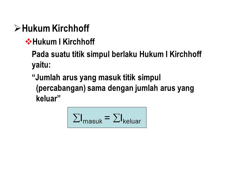 HHukum Kirchhoff HHukum I Kirchhoff Pada suatu titik simpul berlaku Hukum I Kirchhoff yaitu: Jumlah arus yang masuk titik simpul (percabangan) sama dengan jumlah arus yang keluar  I masuk =  I keluar