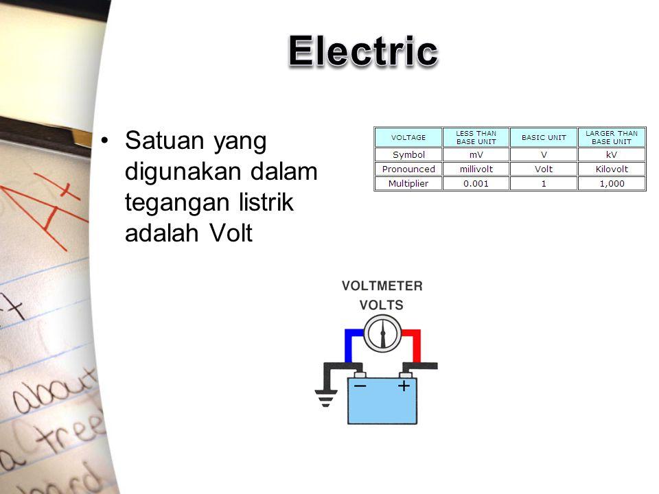 Satuan yang digunakan dalam tegangan listrik adalah Volt