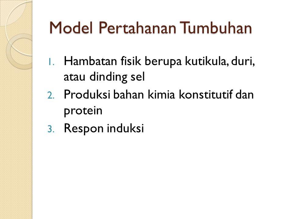 Model Pertahanan Tumbuhan 1. Hambatan fisik berupa kutikula, duri, atau dinding sel 2. Produksi bahan kimia konstitutif dan protein 3. Respon induksi