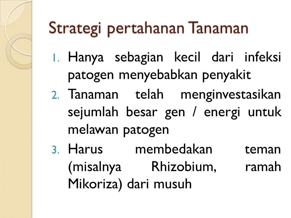 Strategi pertahanan Tanaman 1. Hanya sebagian kecil dari infeksi patogen menyebabkan penyakit 2. Tanaman telah menginvestasikan sejumlah besar gen / e