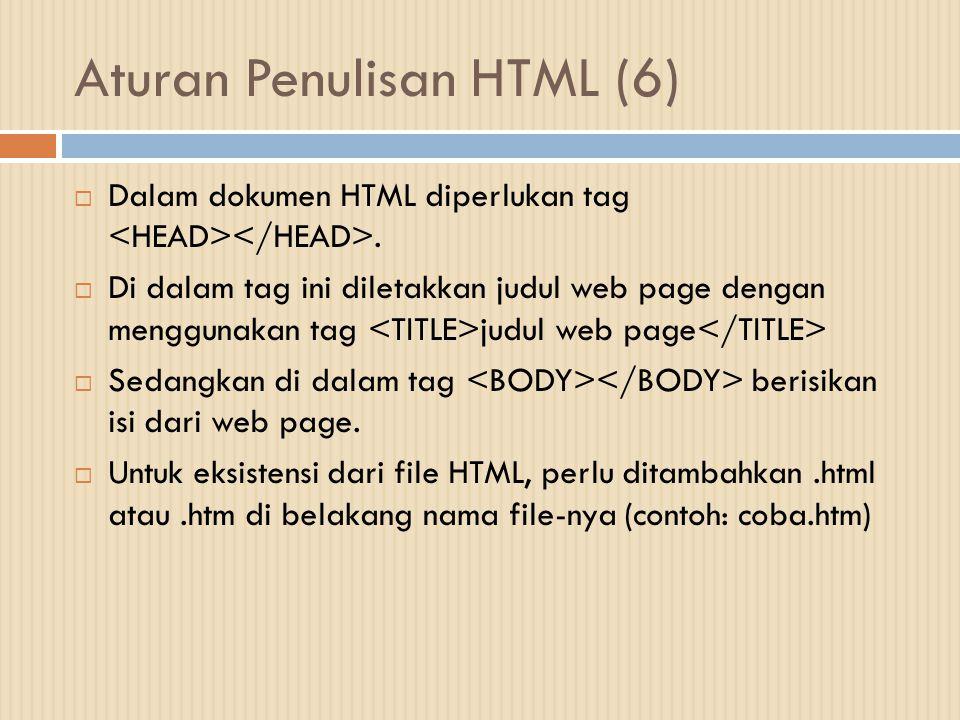 Aturan Penulisan HTML (6)  Dalam dokumen HTML diperlukan tag.  Di dalam tag ini diletakkan judul web page dengan menggunakan tag judul web page  Se