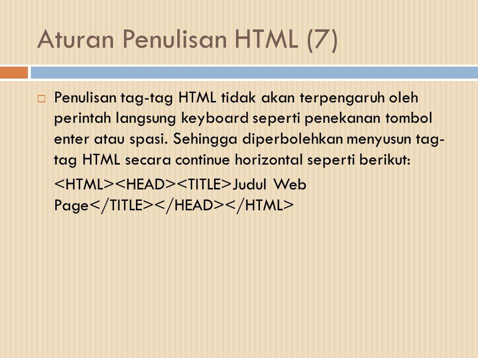 Aturan Penulisan HTML (7)  Penulisan tag-tag HTML tidak akan terpengaruh oleh perintah langsung keyboard seperti penekanan tombol enter atau spasi. S