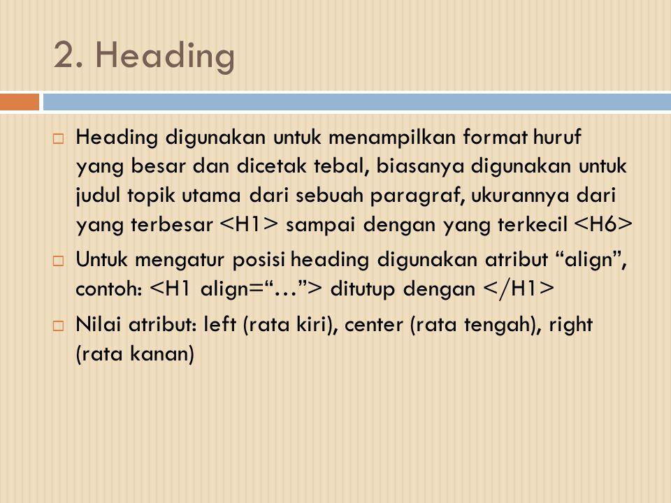 2. Heading  Heading digunakan untuk menampilkan format huruf yang besar dan dicetak tebal, biasanya digunakan untuk judul topik utama dari sebuah par