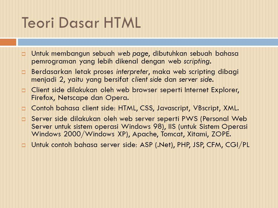Teori Dasar HTML  Untuk membangun sebuah web page, dibutuhkan sebuah bahasa pemrograman yang lebih dikenal dengan web scripting.  Berdasarkan letak
