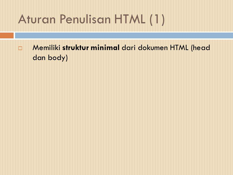 Aturan Penulisan HTML (1)  Memiliki struktur minimal dari dokumen HTML (head dan body)