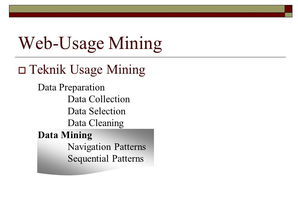 Web-Usage Mining  Teknik Usage Mining Data Preparation Data Collection Data Selection Data Cleaning Data Mining Navigation Patterns Sequential Patterns