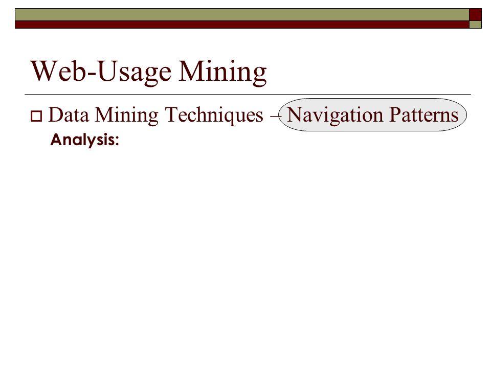 Web-Usage Mining  Data Mining Techniques – Navigation Patterns Analysis: