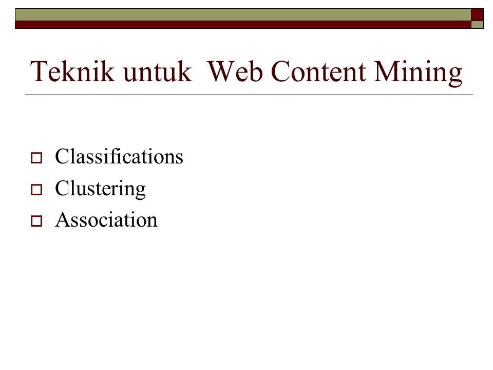 Teknik untuk Web Content Mining  Classifications  Clustering  Association