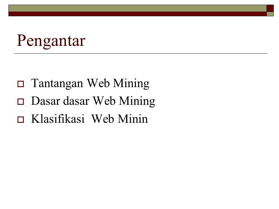 Pengantar  Tantangan Web Mining  Dasar dasar Web Mining  Klasifikasi Web Minin