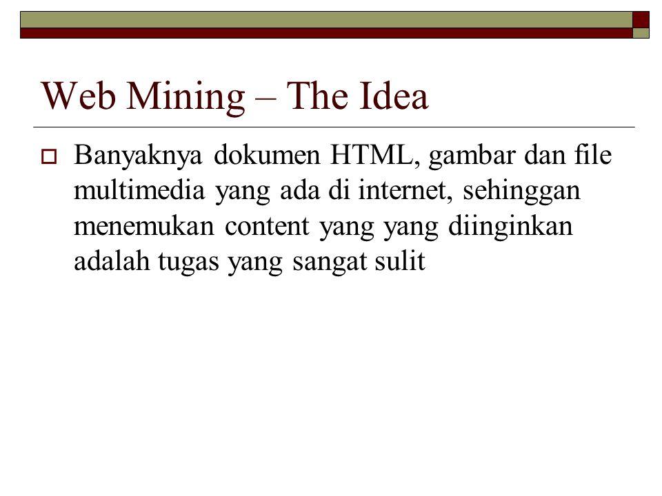 Web Mining – The Idea  Banyaknya dokumen HTML, gambar dan file multimedia yang ada di internet, sehinggan menemukan content yang yang diinginkan adal