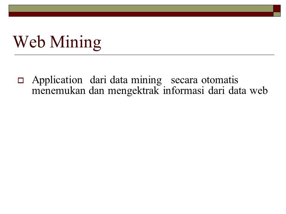 Web Mining  Application dari data mining secara otomatis menemukan dan mengektrak informasi dari data web