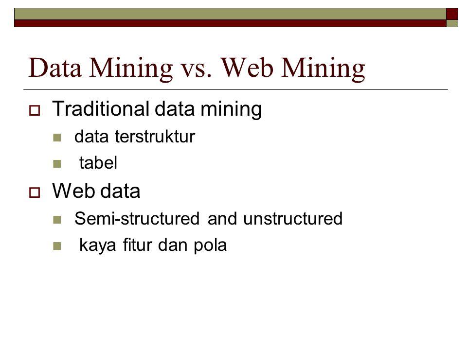 Data Mining vs. Web Mining  Traditional data mining data terstruktur tabel  Web data Semi-structured and unstructured kaya fitur dan pola