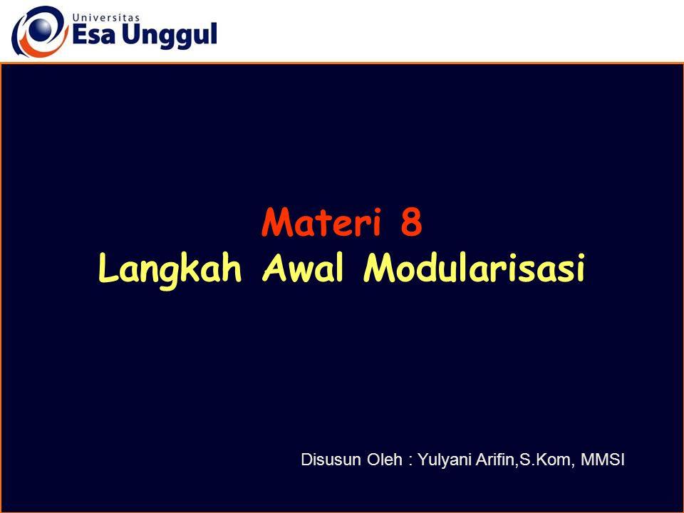 Agenda Modularisasi Hirarkhi Chart atau Structure Chart Tahapan Modularisasi Contoh Program dengan Modularisasi