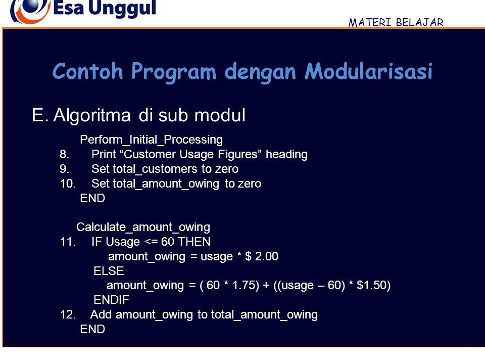 """MATERI BELAJAR Contoh Program dengan Modularisasi E. Algoritma di sub modul Perform_Initial_Processing 8. Print """"Customer Usage Figures"""" heading 9. Se"""