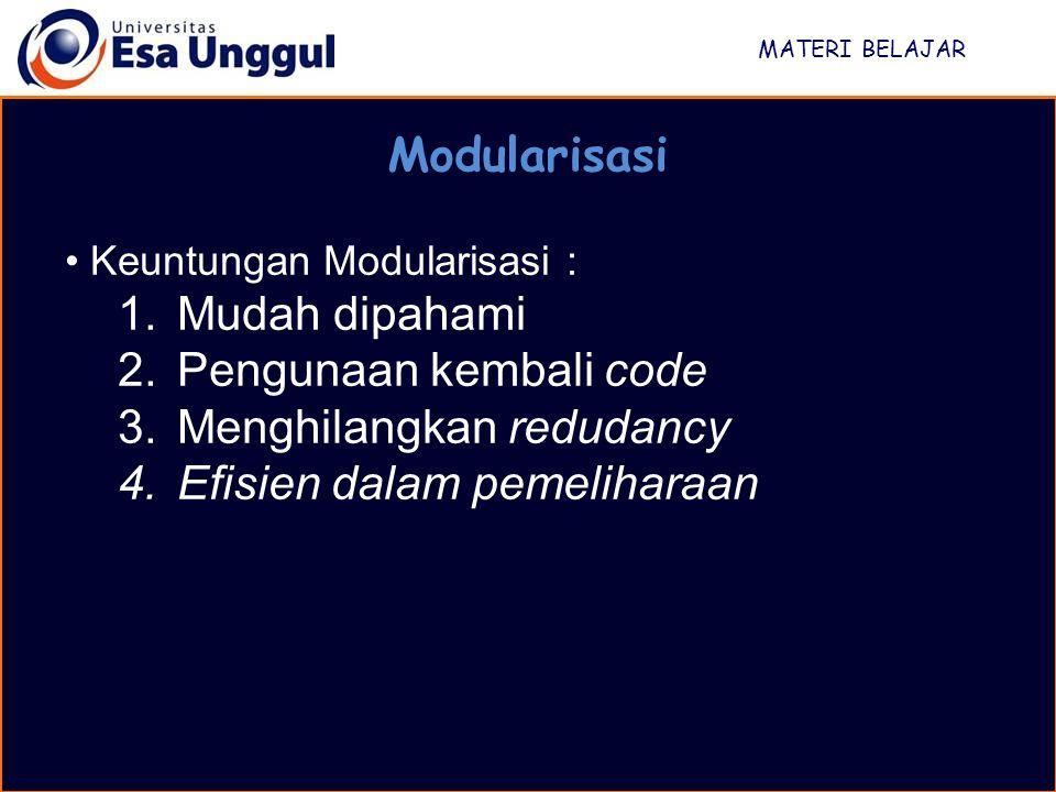 MATERI BELAJAR Modularisasi Keuntungan Modularisasi : 1.Mudah dipahami 2.Pengunaan kembali code 3.Menghilangkan redudancy 4.Efisien dalam pemeliharaan
