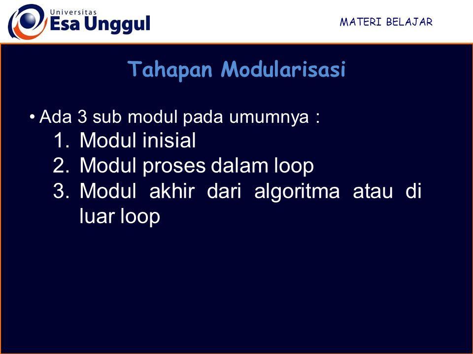 MATERI BELAJAR Tahapan Modularisasi Ada 3 sub modul pada umumnya : 1.Modul inisial 2.Modul proses dalam loop 3.Modul akhir dari algoritma atau di luar