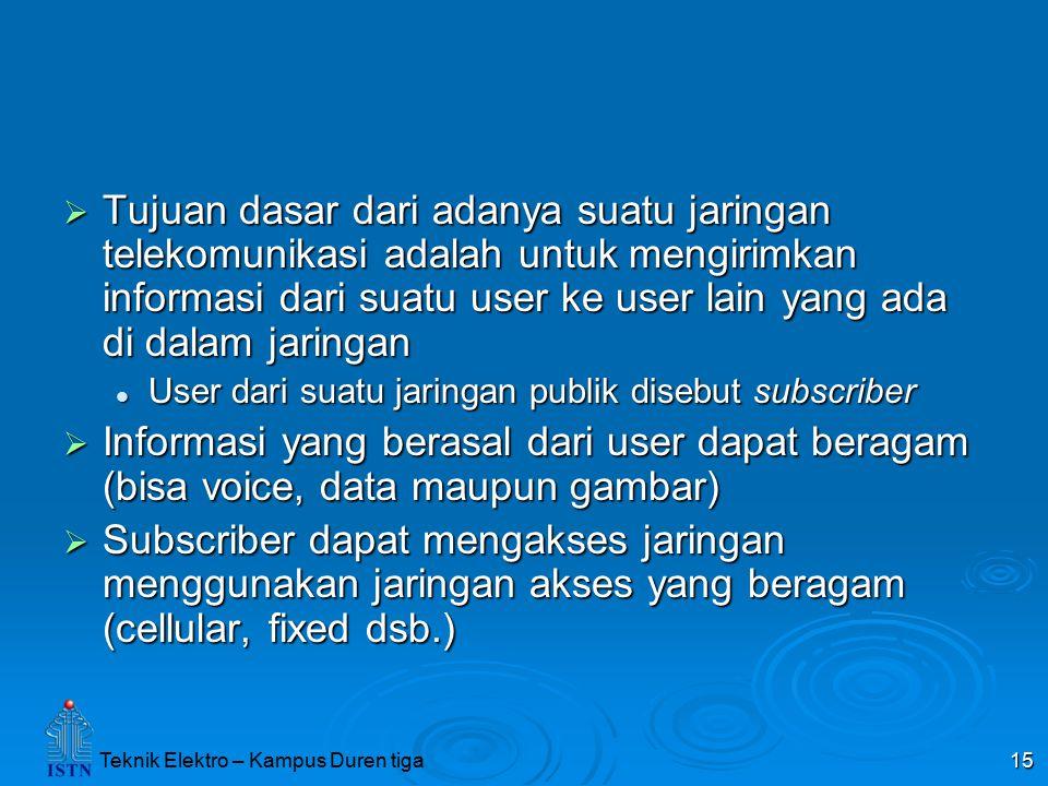 Teknik Elektro – Kampus Duren tiga 15  Tujuan dasar dari adanya suatu jaringan telekomunikasi adalah untuk mengirimkan informasi dari suatu user ke u