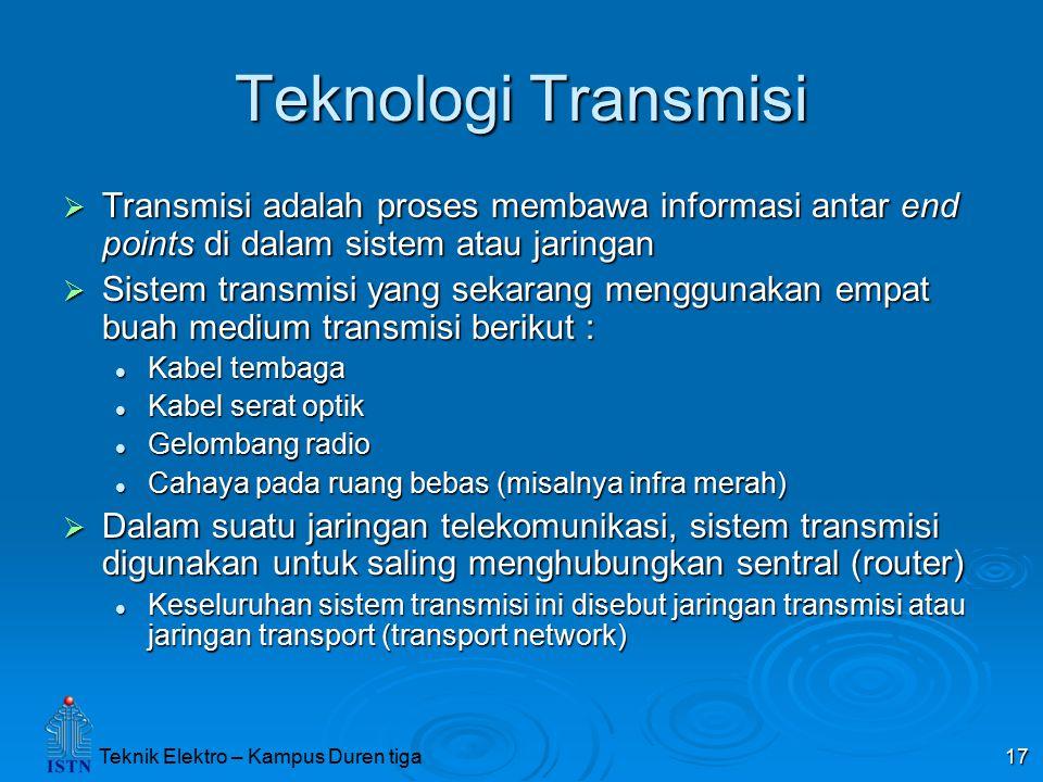 Teknik Elektro – Kampus Duren tiga 17 Teknologi Transmisi  Transmisi adalah proses membawa informasi antar end points di dalam sistem atau jaringan 