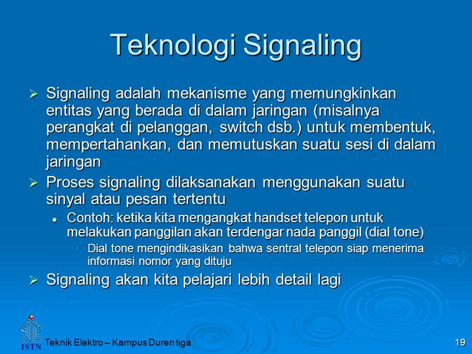 Teknik Elektro – Kampus Duren tiga 19 Teknologi Signaling  Signaling adalah mekanisme yang memungkinkan entitas yang berada di dalam jaringan (misaln