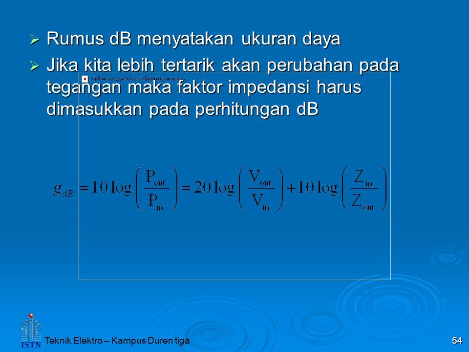 54  Rumus dB menyatakan ukuran daya  Jika kita lebih tertarik akan perubahan pada tegangan maka faktor impedansi harus dimasukkan pada perhitungan d