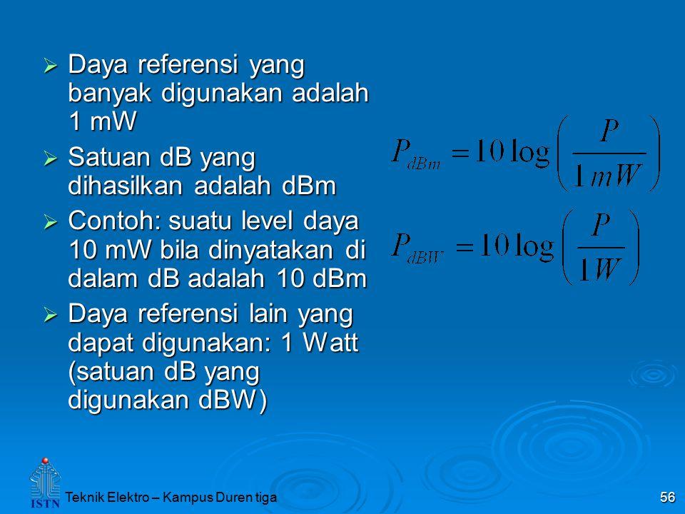 Teknik Elektro – Kampus Duren tiga 56  Daya referensi yang banyak digunakan adalah 1 mW  Satuan dB yang dihasilkan adalah dBm  Contoh: suatu level