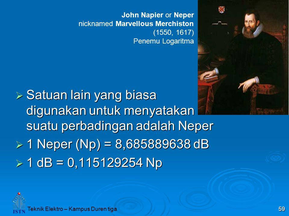 Teknik Elektro – Kampus Duren tiga 59  Satuan lain yang biasa digunakan untuk menyatakan suatu perbadingan adalah Neper  1 Neper (Np) = 8,685889638