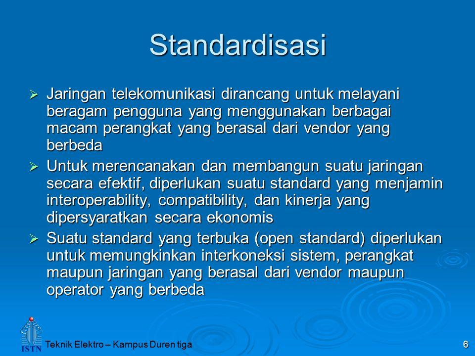 6 Standardisasi  Jaringan telekomunikasi dirancang untuk melayani beragam pengguna yang menggunakan berbagai macam perangkat yang berasal dari vendor