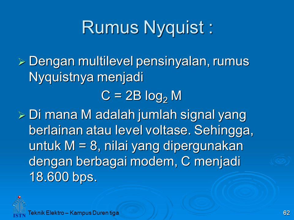 Teknik Elektro – Kampus Duren tiga 62 Rumus Nyquist :  Dengan multilevel pensinyalan, rumus Nyquistnya menjadi C = 2B log 2 M C = 2B log 2 M  Di man