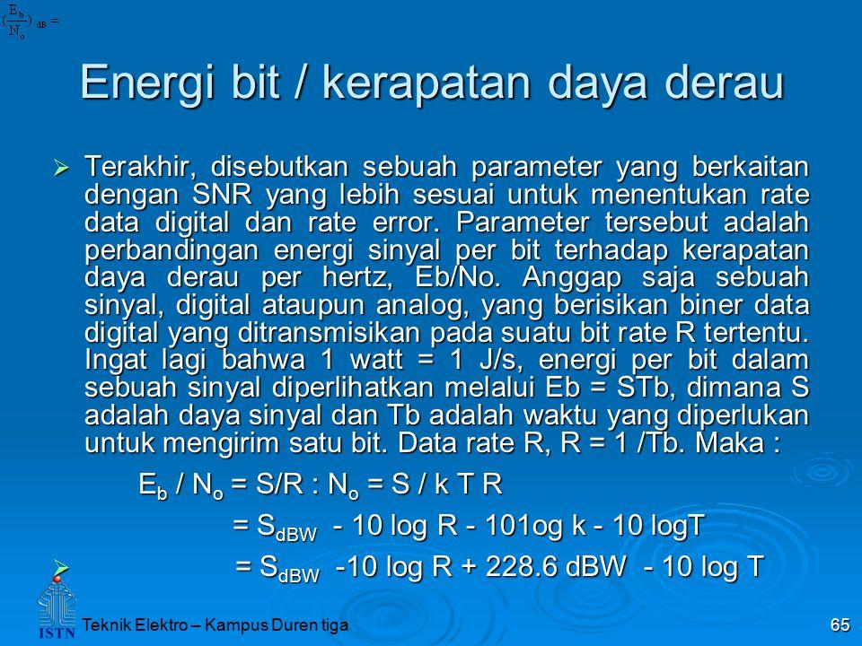 Teknik Elektro – Kampus Duren tiga 65 Energi bit / kerapatan daya derau  Terakhir, disebutkan sebuah parameter yang berkaitan dengan SNR yang lebih s
