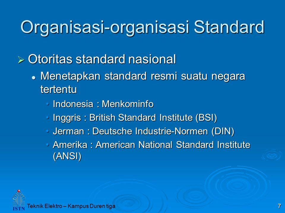 Teknik Elektro – Kampus Duren tiga 7 Organisasi-organisasi Standard  Otoritas standard nasional Menetapkan standard resmi suatu negara tertentu Menet