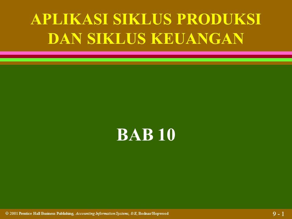  2001 Prentice Hall Business Publishing, Accounting Information Systems, 8/E, Bodnar/Hopwood 9 - 1 BAB 10 APLIKASI SIKLUS PRODUKSI DAN SIKLUS KEUANGA